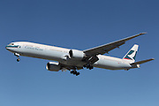 LOS ANGELES, CALIFORNIA, USA - JANUARY 28, 2013 - Cathay Pacific Boeing 777-367(ER) lands at Los Angeles Airport on January 28, 2013. The plane has the most powerful jet engines in commercial service