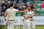 Somerset's Peter Trego celebrates taking the wicket of Yorkshire's Will Rhodes during the Specsavers County Champ Div 1 match between Somerset County Cricket Club and Yorkshire County Cricket Club at the County Ground, Taunton, United Kingdom on 17 May 2016. Photo by Graham Hunt.