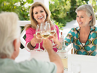 Three people toasting with wine glasses sitting at verandah table