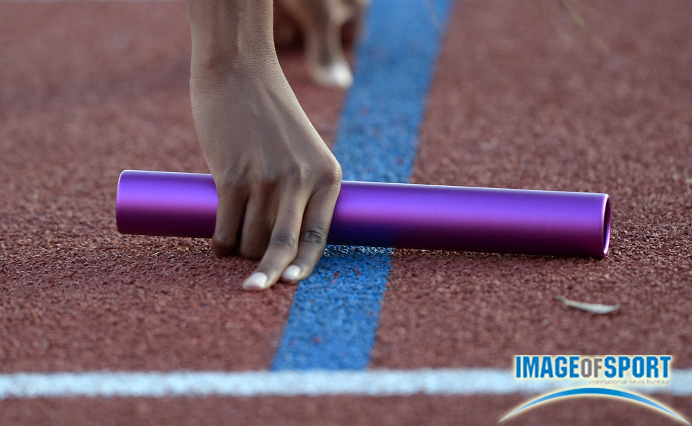 Mar 28, 2014; Austin, TX, USA; General view of a baton held by Kiersten Duncan of LSU in the starting blocks of the womens sprint medley relay in the 87th Clyde Littlefield Texas Relays at Mike A. Myers Stadium.