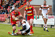 Bradford Bulls centre Lee Smith (1) gets free scores a try to make the score 14-16 during the Kingstone Press Championship match between Dewsbury Rams and Bradford Bulls at the Tetley's Stadium, Dewsbury, United Kingdom on 10 September 2017. Photo by Simon Davies.