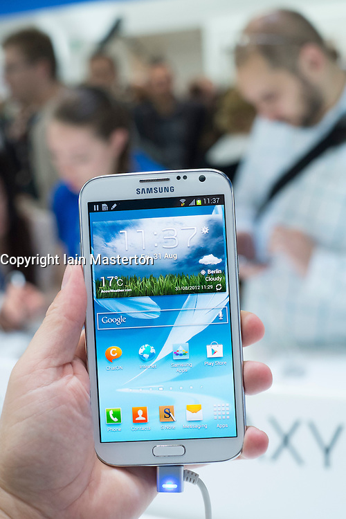Detail of new Samsung Galaxy Note II smart phone released today, 31 August 2012,  the opening day of the annual IFA (or Internationale Funkausstellung ) consumer electronics and electrical products show held in Berlin Messe Trade Show Halls Germany