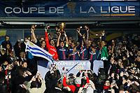 joie Edinson Cavani (PSG) / Thiago Silva (PSG) / Angel Di Maria (PSG) equipe (PSG)