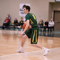 2nd year guard Benjamin Hillis (8) of the Regina Cougars during the Men's Basketball home game on January 6 at Centre for Kinesiology, Health and Sport. Credit: Arthur Ward/Arthur Images