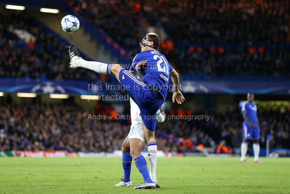Nemanja Matic of Chelsea in action. UEFA Champions league group G match, Chelsea v Porto at Stamford Bridge in London on Wednesday 9th December 2015.<br /> pic by John Patrick Fletcher, Andrew Orchard sports photography.