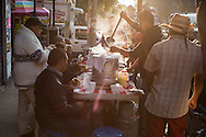 Early morning at a tamales stand on the streets of Mexico City, Mexico