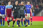 Leicester City goalkeeper Kasper Schmeichel (1) argues with the referee over his penalty decision during the Premier League match between Leicester City and West Ham United at the King Power Stadium, Leicester, England on 22 January 2020.