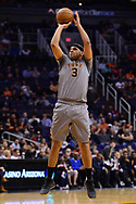 Feb 13, 2017; Phoenix, AZ, USA; Phoenix Suns forward Jared Dudley (3) shoots the ball against the New Orleans Pelicans in the first half of the NBA game at Talking Stick Resort Arena. Mandatory Credit: Jennifer Stewart-USA TODAY Sports