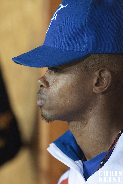 21 August 2010: Luis de la Rosa of Team France is seen in the dugout  during Russia 13-1 win in 7 innings over France, at the 2010 European Championship, under 21, in Brno, Czech Republic.