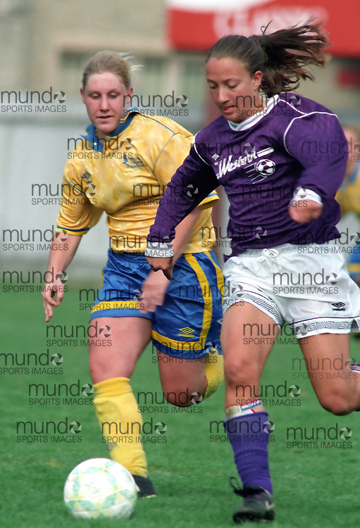 (October 2, 1994) University of Western Ontario Mustangs   women's soccer team playing in the 1994 OWIAA championship tournament played at J W Little Stadium in London, Ontario. Photograph copyright Sean Burges / Mundo Sport Images.