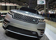 "Manhattan, New York, USA. April 12, 2017. Land Rover 2018 Range Rover VELAR, medium SUV, makes its North Amerian launch at the New York International Auto Show, NYIAS, during the first Press Day at the Javits Center. The Latin word ""velare"" means to veil or cover, and Velar was what Range Rover engineers called pre-production prototypes Range Rovers in the 1960s."