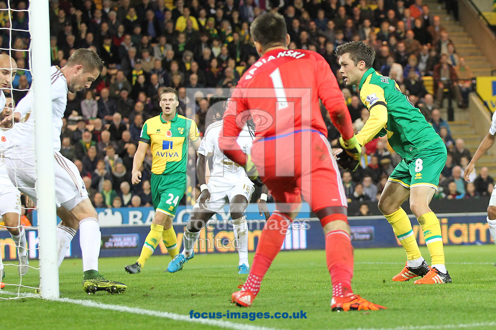 Jonny Howson of Norwich scores his sides 1st goal during the Barclays Premier League match at Carrow Road, Norwich<br /> Picture by Paul Chesterton/Focus Images Ltd +44 7904 640267<br /> 07/11/2015