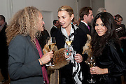 STEPHANIE THEOBALDS;; ASSIA WEBSTER;   JACKIE MARTIN;, THE LAUNCH OF THE KRUG HAPPINESS EXHIBITION AT THE ROYAL ACADEMY, London. 12 December 2011.