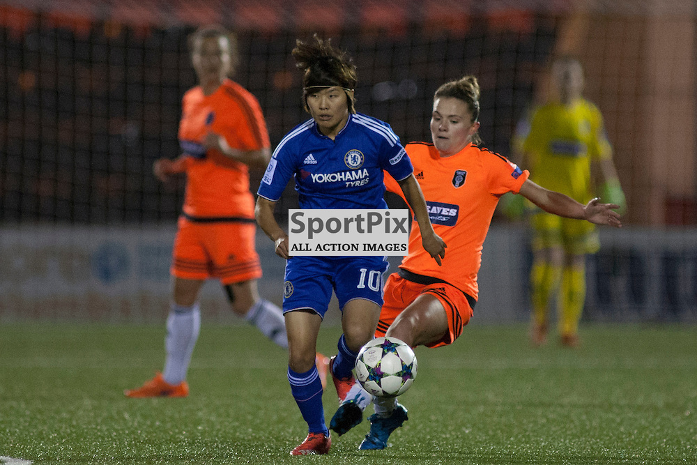 Ji So Yun (CLFC 10) fouled by Rachel Corsie (GCFC 21) in the Glasgow City v Chelsea LFC Women's Champions League last-32 2nd Leg 14 October 2015<br />