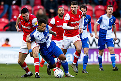 Jonson Clarke-Harris of Bristol Rovers is fouled by Richard Wood of Rotherham United - Mandatory by-line: Robbie Stephenson/JMP - 18/01/2020 - FOOTBALL - Aesseal New York Stadium - Rotherham, England - Rotherham United v Bristol Rovers - Sky Bet League One
