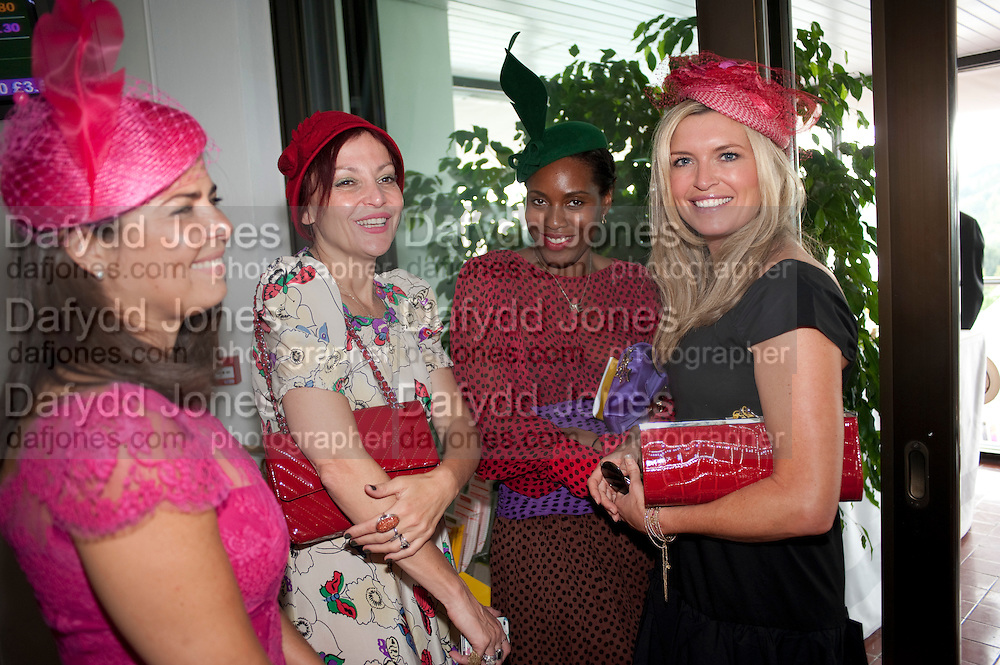 Daniella Issa Helayel; PEARL LOWE;; SUSAN BENDER; TINA HOBLEY , Glorious Goodwood. Ladies Day. 28 July 2011. <br /> <br />  , -DO NOT ARCHIVE-© Copyright Photograph by Dafydd Jones. 248 Clapham Rd. London SW9 0PZ. Tel 0207 820 0771. www.dafjones.com.
