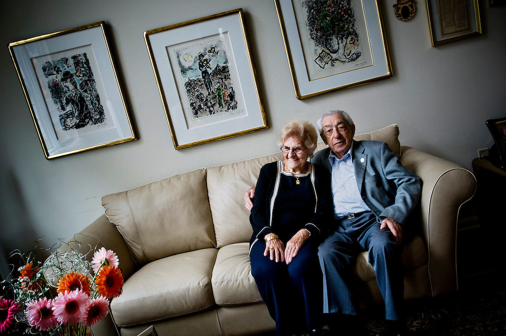 Holocaust survivor Clara Kramer with her husband at their home in Elizabeth, New Jersey. Clara survived the war hiding for 20 months in a bunker under a house in Poland, and later wrote a book based on her diary from this time.