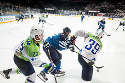 Luka Vidmar of Slovenia, Valtteri Filppula of Finland and Jan Mursak of Slovenia during the 2017 IIHF Men's World Championship group B Ice hockey match between National Teams of Finland and Slovenia, on May 10, 2017 in AccorHotels Arena in Paris, France. Photo by Vid Ponikvar / Sportida