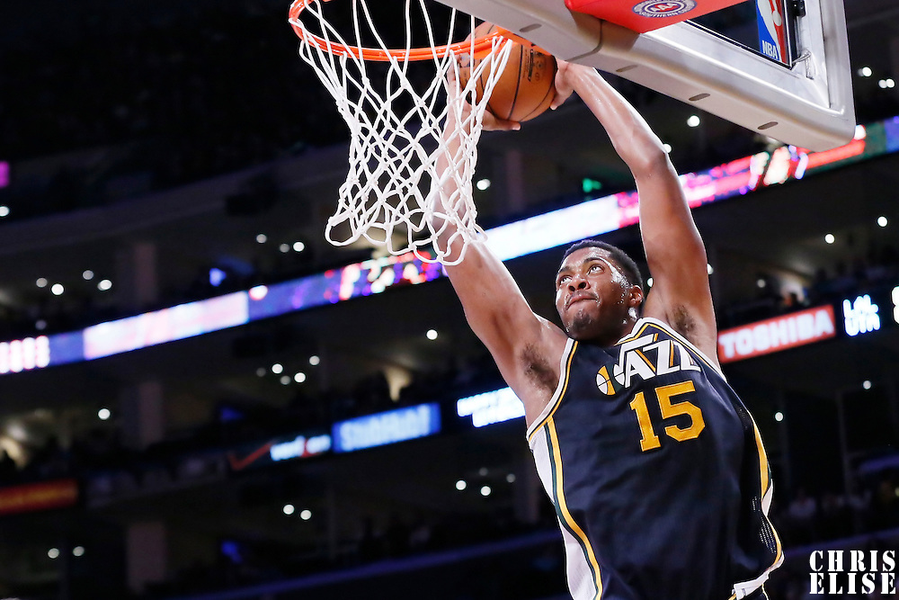 19 March 2015: Utah Jazz forward Derrick Favors (15) goes for the dunk during the Utah Jazz 80-73 victory over the Los Angeles Lakers, at the Staples Center, Los Angeles, California, USA.