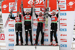11.12.2011, Biathlonzentrum, Hochfilzen, AUT, E.ON IBU Weltcup, 2. Biathlon, Hochfilzen, Staffel Herren, im Bild Siegertieam mit Brattsveen Rune (Team NOR) Berger Lars (Team NOR) Svendsen Emil Hegle (Team NOR) Boe Tarjei (Team NOR) // during Team Relay E.ON IBU World Cup 2th Biathlon, Hochfilzen, Austria on 2011/12/11. EXPA Pictures © 2011. EXPA Pictures © 2011, PhotoCredit: EXPA/ nph/ Straubmeier..***** ATTENTION - OUT OF GER, CRO *****