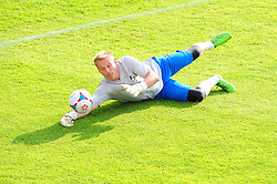 Bristol Rovers' Steve Mildenhall makes a save before the game - Photo mandatory by-line: Dougie Allward/JMP - Tel: Mobile: 07966 386802 16/07/2013 - SPORT - FOOTBALL - Bristol -  Hereford United V Bristol Rovers - Pre Season Friendly