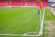 A general view of rainbow corner flag at Oakwell during the EFL Sky Bet Championship match between Barnsley and Hull City at Oakwell, Barnsley, England on 30 November 2019.