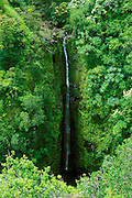 Lower Puohokamoa Falls along the road to Hana, Maui, Hawaii