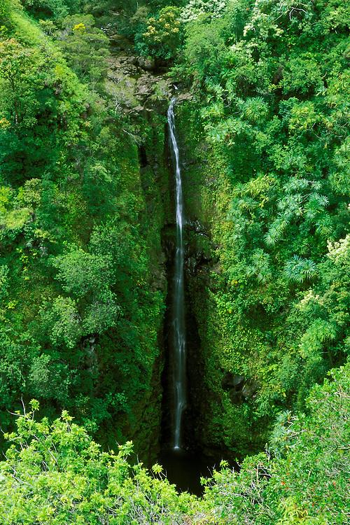 Lower Puohokamoa Falls along the road to Hana, Maui, Hawaii
