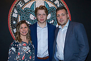 KELOWNA, CANADA - JANUARY 21:  David Brennan & Genevieve Dumont with Ted Brennan at the Kelowna Rockets Billet Dinner on January 21, 2018 at Prospera Place in Kelowna, British Columbia, Canada.  (Photo By Cindy Rogers/Nyasa Photography,  *** Local Caption ***
