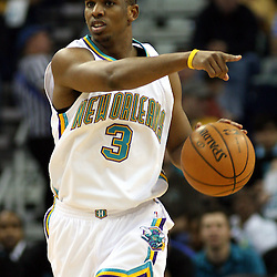 New Orleans Hornets guard Chris Paul #3 calls a play as he runs down court against the Golden State Warriors in the second half of their NBA game on April 6, 2008 at the New Orleans Arena in New Orleans, Louisiana. The New Orleans Hornets defeated the Golden State Warriors 108-96.