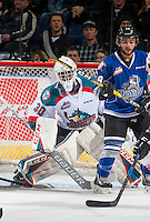 KELOWNA, CANADA - DECEMBER 30: Michael Herringer #30 of the Kelowna Rockets defends the net against the Victoria Royals on December 30, 2016 at Prospera Place in Kelowna, British Columbia, Canada.  (Photo by Marissa Baecker/Shoot the Breeze)  *** Local Caption ***