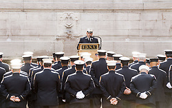 September 11, 2017 - New York, NY, U.S - Annual reading of the names of the 343 New York City Fire Department (FDNY) firefighters who died at Ground Zero on September 11, 2001 at the Firemen's Memorial on the Upper West Side in New York, NY on September 11, 2017. (Credit Image: © Michael Brochstein via ZUMA Wire)