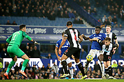 Everton forward Moise Kean (27) beats Newcastle United midfielder Matt Ritchie (11) to the ball in the Newcastle United goalmouth during the Premier League match between Everton and Newcastle United at Goodison Park, Liverpool, England on 21 January 2020.