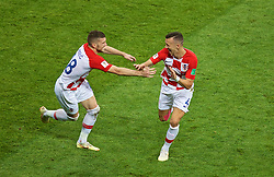 MOSCOW, RUSSIA - Sunday, July 15, 2018: Croatia's Ivan Perišić celebrates scoring the first equalising goal during the FIFA World Cup Russia 2018 Final match between France and Croatia at the Luzhniki Stadium. (Pic by David Rawcliffe/Propaganda)