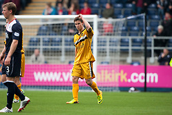 Dumbarton's Mitchell Megginson celebrates after scoring their second goal.<br /> Falkirk 1 v 2 Dumbarton, Scottish Championship game played today at the Falkirk Stadium.<br /> &copy;Michael Schofield.
