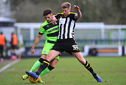 Liam Shephard of Forest Green Rovers competes with Jonathan Stead of Notts County - Mandatory by-line: Nizaam Jones/JMP- 09/02/2019 - FOOTBALL - New Lawn Stadium- Nailsworth, England - Forest Green Rovers v Notts County - Sky Bet League Two