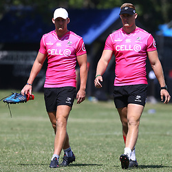 DURBAN, SOUTH AFRICA - FEBRUARY 12: Robert du Preez with Daniel Du Preez during the Cell C Sharks training session at Growthpoint Kings Park on February 12, 2018 in Durban, South Africa. (Photo by Steve Haag/Gallo Images)