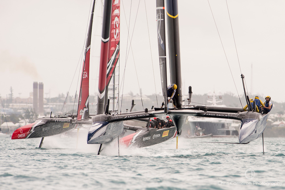The Great Sound, Bermuda. 10th June 2017. Artemis Racing (SWE) lead Emirates Team New Zealand through out the second race of the Louis Vuitton America's Cup Challenger playoff finals. Artemis win the race to take the score to 1 - 1.