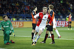 (L-R) goalkeeper Andriy Pyatov of FC Shakhtar Donetsk, David Khocholava of FC Shakhtar Donetsk, Nicolai Jorgensen of Feyenoord, Bohdan Butko of FC Shakhtar Donetsk during the UEFA Champions League group F match between Shakhtar Donetsk and Feyenoord Rotterdam at Metalist Stadium on November 01, 2017 in Kharkiv, Ukraine