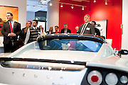 Tom Glendening of E3NYC at MCC Transportation Transformation Series: Opening Reception at Tesla Showroom held  May 11, 2011 at Tesla Motors New York, 511 West 25th Street, New York. This exciting series was presented by MCC's Green Business Committee, MCC's Tech and Innovation Committee and E3NYC. The MCC offers the business community a variety of perspectives of the direction of clean transportation in New York and beyond. The Tesla Roadster is the world's only automobile that offers supercar performance without supercar emissions. Engineered for performance and efficiency, it accelerates from 0 to 60 in 3.7 seconds, delivering 295 lbs-ft. of torque without using a drop of gasoline. The Roadster travels 245 miles on a single charge and plugs into nearly any outlet in the world - allowing for uncompromised electric driving. The event was sponsored by Con Edison Commercial & Industrial Energy Efficiency Programs for sponsoring the MCC Green Business Committee for 2011.