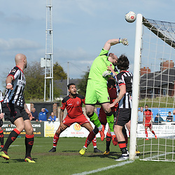 TELFORD COPYRIGHT MIKE SHERIDAN 6/4/2019 - Matt Urwin turns Shane Sutton of AFC Telford's effort over the bar during the Vanarama Conference North fixture between Chorley FC and AFC Telford United at Victory Park