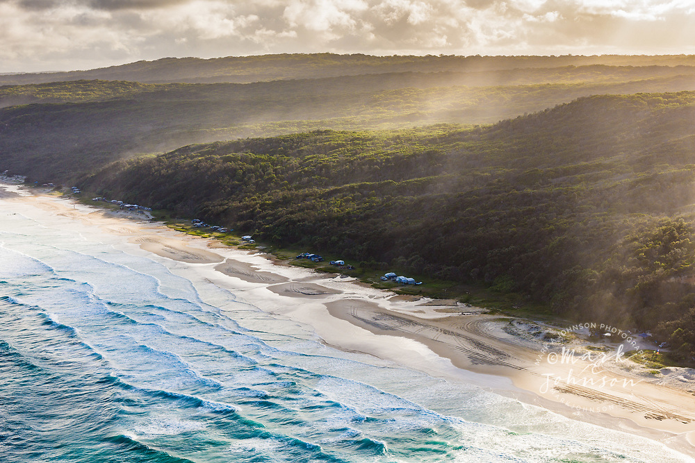 Aerial photograph of campers along the shoreline of Noosa North Shore, Great Sandy National Park, Sunshine Coast, Queensland, Australia