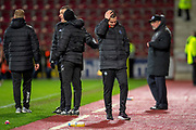 Gary Caldwell, manager of Partick Thistle FC turns away with his head in his hands after his team lose the the William Hill Scottish Cup quarter final replay match between Heart of Midlothian and Partick Thistle at Tynecastle Stadium, Gorgie, Edinburgh Scotland on 12 March 2019.