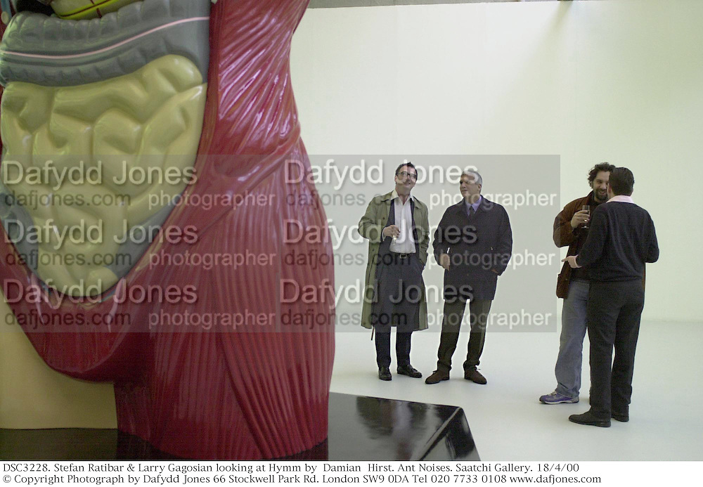 Stefan Ratibar &amp; Larry Gagosian looking at Hymm by  Damian  Hirst. Ant Noises. Saatchi Gallery. 18/4/00<br />