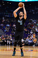 Jan 30, 2017; Phoenix, AZ, USA; Memphis Grizzlies center Marc Gasol (33) shoots the ball against the Phoenix Suns in the first half of the NBA game at Talking Stick Resort Arena. Mandatory Credit: Jennifer Stewart-USA TODAY Sports