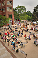 Students and staff eat lunch on the Brickyard.