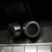 """Old metal subway speakers, which the MTA uses to make train delays or other public service disruption announcements. From the series """"Down with the Ship"""""""