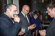 AMIR ATTAIE; BILLY ZANE; BILL DEGIROUEMO, Liberatum Cultural Honour  for John Hurt, CBE in association with artist Svetlana K-Lié.  Spice Market, W London - Leicester Square