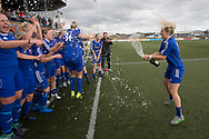 06/10/2017 - Forfar Farmington v Motherwell Ladies in SWPL2 at Station Park, Forfar: Forfar Farmington celebrate after beating closest rivals Motherwell Ladies 5-1 to clinch promotion and the SWPL2 championship