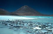 Laguna Verde, turquoise shinning vulcanic lake,vulcano in the background,Altiplano,Bolivia